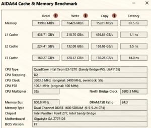 AIDA64 Intel Xeon E3 1270