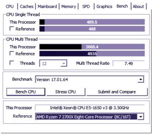 CPU-Z Xeon E5 1650v3