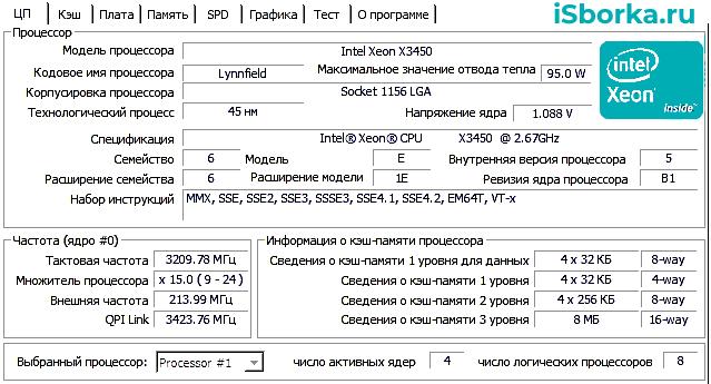 CPU Z Xeon X3450
