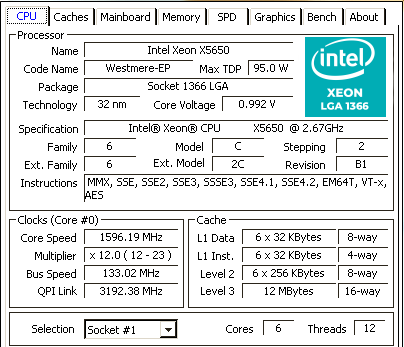 CPU-Z Intel Xeon X5650 LGA 1366